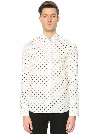 Kenzo Desenli Uzun Kollu Gömlek Beyaz